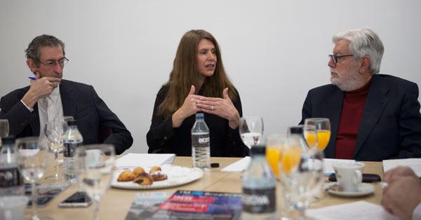 Luis Sanz, Encina Murga y Eugenio López de Quintana en el marco del último desayuno informativo de la revista TM Broadcast