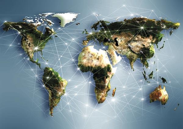 Interconexiones de redes de internet en todo el mundo
