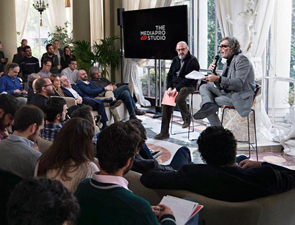 Tatxo Benet y Jaume Roures durante la presentación de The Mediapro Studio en Madrid (Abril de 2019)