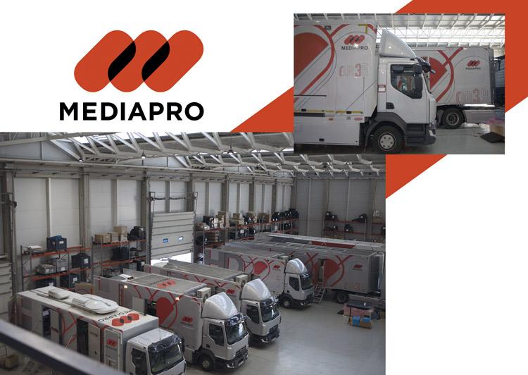 Imagen de portada de artículo con varias de las unidades móviles de Mediapro