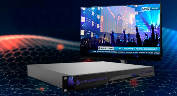 Vista frontal del sistema de generación de gráficos CG Broadcast de LiveXpert, 3D Storm