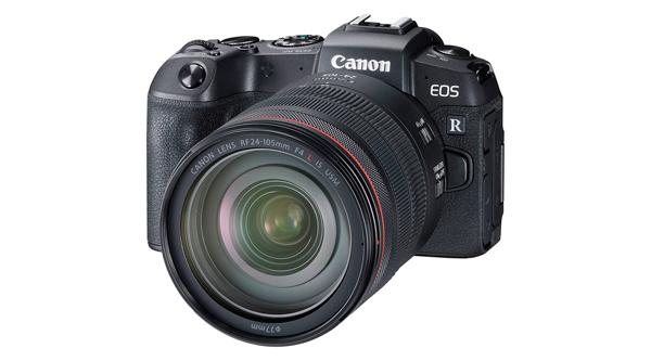 Cuerpo y objetivo de una Canon EOS RP, cámara mirrorless
