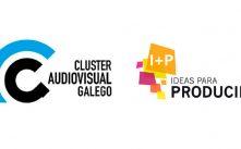 Logotipos del Cluster Audiovisual Galego y del evento I+P Ideas para producir