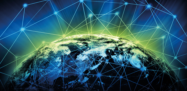 Render de un globo terraqueo con interconexiones IP