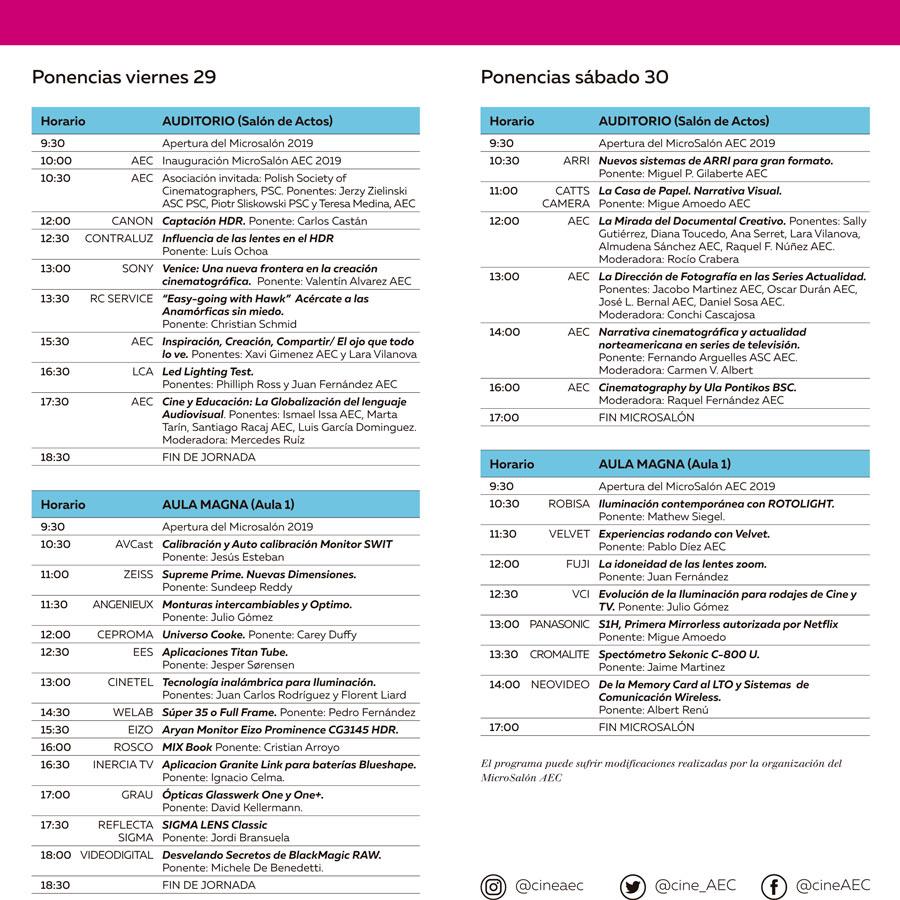 Programa de actividades del MicroSalón AEC 2019
