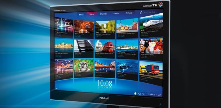 Pantalla con un ejemplo de televisión híbrida