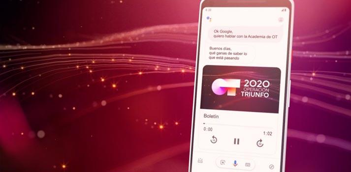 Aplicación OT 2020 para google assistant desarrollada por Lavinia Voice sobre un smartphone