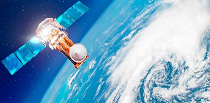 Satélite sobrevolando el planeta Tierra - Imagen recurso