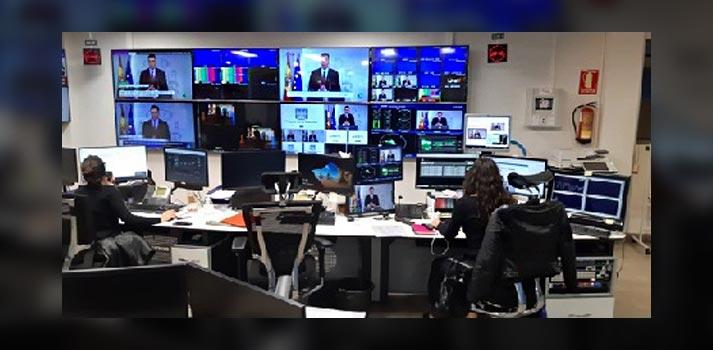 Sala de control emisión Rueda de Prensa Ministerio de Sanidad sobre el Covid-19