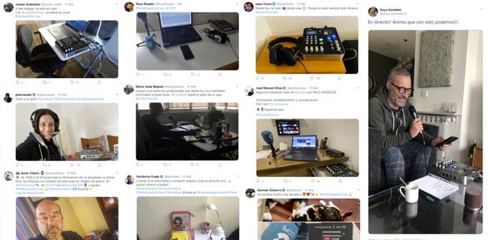 Redes sociales de presentadores de COPE trabajando desde sus hogares con tecnología de AEQ