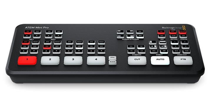 Vista frontal del ATEM Mini Pro, la última solución de Blackmagic Design