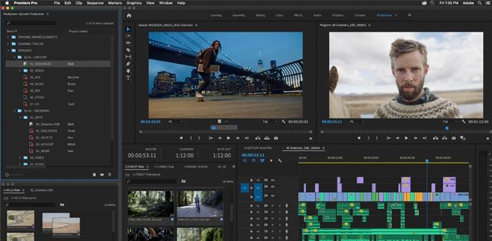 Interfaz de usuario de Adobe Premiere Pro