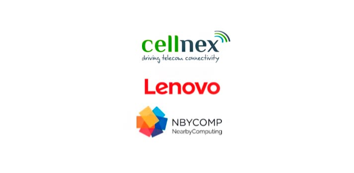 Logotipos de Cellnex, Lenovo y Nearby Computing
