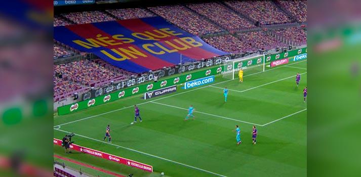 Público virtual y lona implementada Camp Nou por Vizrt y Mediapro