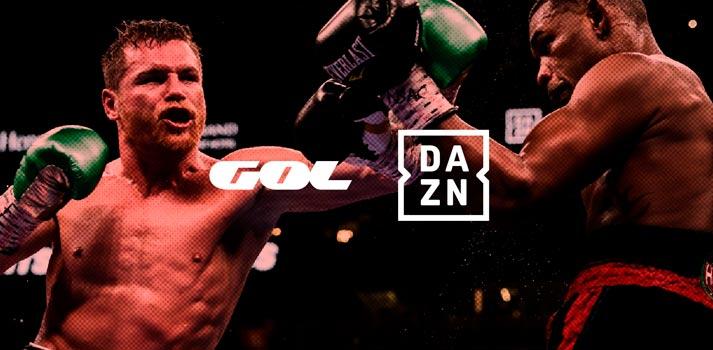 Combate de boxeo con logotivos de GOL y DAZN