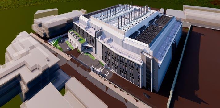 Proyección del centro de datos que Interxión construirá en Madrid