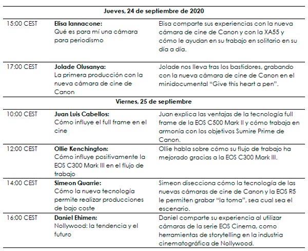 Programación detallada del evento Canon Vision 2020