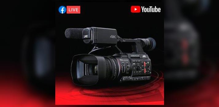 Imagen promocional de las cámaras Connected Cam de JVC y su compatibilidad con plataformas sociales