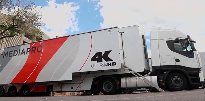 Unidad móvil 4K del Grupo Mediapro destinada a una producción futbolística