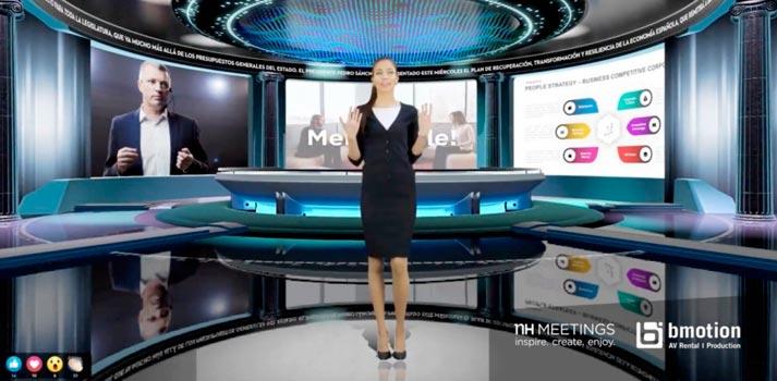 Plató virtual habilitado en la solución de reuniones híbrida de NH, impulsada por bmotion