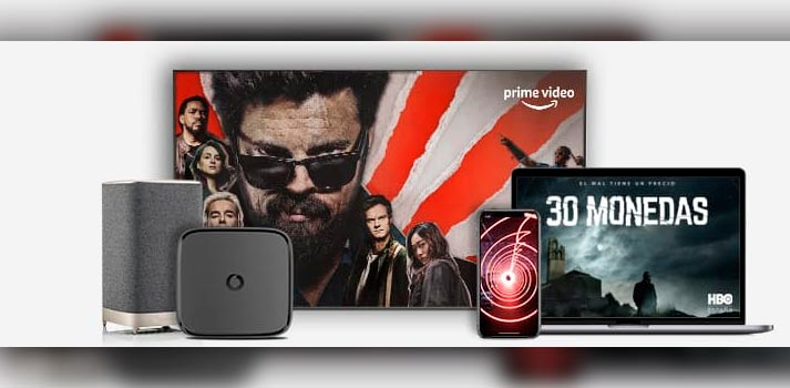 Ecosistema de productos Vodafone incluyendo el nuevo altavoz ÁTIKA