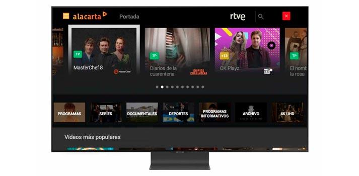 """Interfaz de usuario de la aplicación """"A la carta"""" de RTVE en televisores Samsung"""