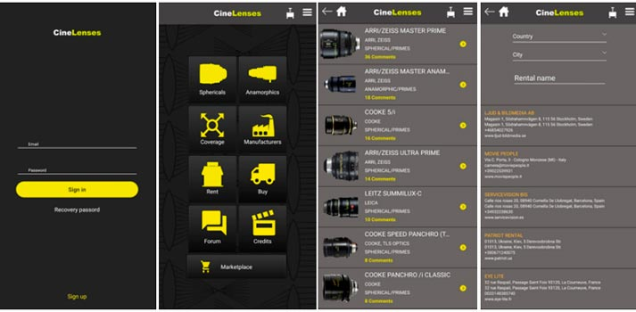 Aplicación CineLenses - Diferentes capturas de su interfaz de usuario