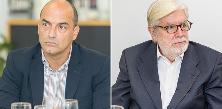 Javier de Martín de Daro Media Group y el consultor Luis Sanz en un Desayuno Informativo de TM Broadcast