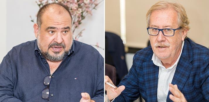 José Chorro de Secuoya y Jesús Martín Tena de Lavinia en un Desayuno Informativo de TM Broadcast