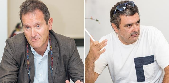 José María Casaos de Telemadrid y Pepe Ripoll de Atresmedia en un Desayuno Informativo de TM Broadcast