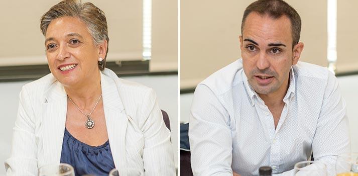 Olga Arribas y Raúl Pino de Secuoya en un Desayuno Informativo de TM Broadcast