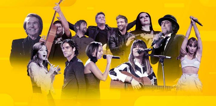 Collage con artistas pertenecientes al canal de Youtube RTVE Música