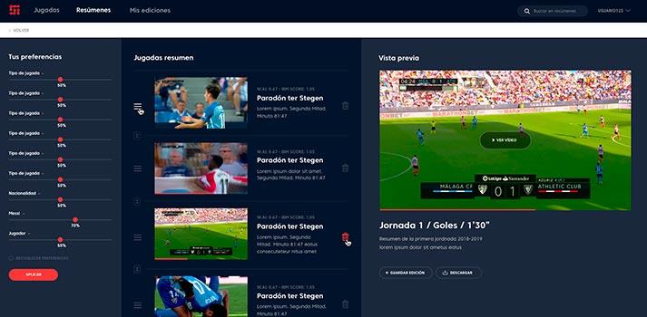 UI de la plataforma AIProClips desarrollada por el Grupo Mediapro