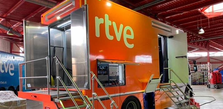 Unidad móvil integrada por RTVE en Cataluña