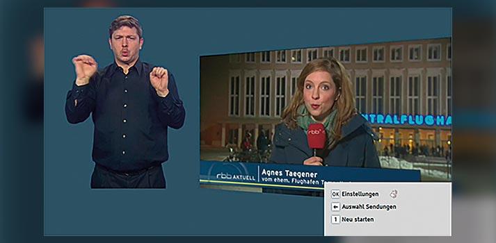 Figura 1. Experiencia pionera de lengua de signos configurable en el canal alemán RBB, dentro del proyecto HBB4ALL. Mediante una aplicación HbbTV, el usuario seleccionaba la posición del intérprete para un programa de vídeo bajo demanda. El intérprete, situado a la izquierda en esta captura, es Jan Sell.