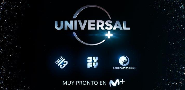 Imagen promocional que anuncia la llegada de Universal+ a los clientes de Movistar+