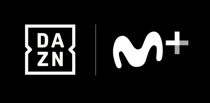 Logotipos de la plataforma streaming DAZN y Movistar+