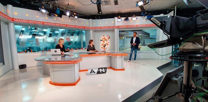 Plató de informativos de Aragón TV