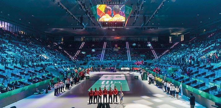 Celebración de un evento deportivo en el interior de la Caja Mágica de Madrid