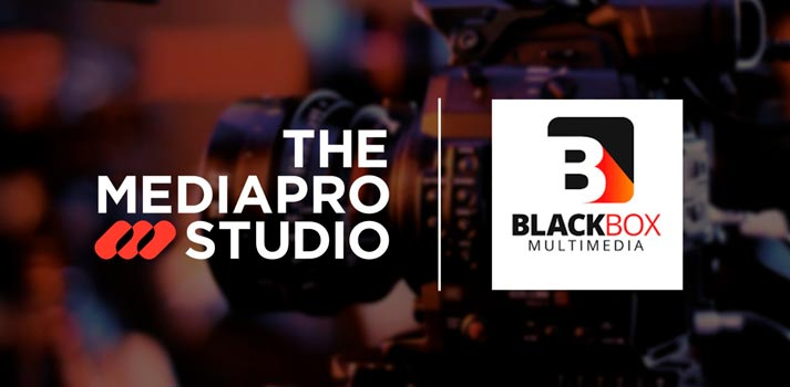 Logotipos de The Mediapro Studio y Blackbox Multimedia